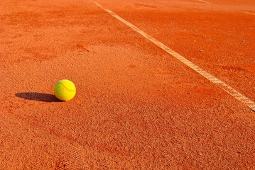 Detail of clay tennis court