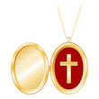 Christian Cross Engraved Gold Locket, copy space, necklace
