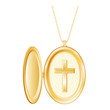 Vintage Christian Cross Engraved Locket, gold chain necklace