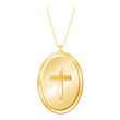 Vintage Christian Cross Engraved Gold Locket, chain necklace