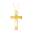 Christian Cross Gold Pendant, chain necklace, isolated on white