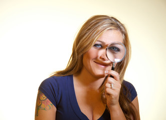 Model With a Magnifying Glass