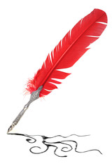 Red and silver quill