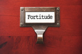 Lustrous Wooden Cabinet with Fortitude File Label poster