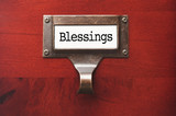 Lustrous Wooden Cabinet with Blessings File Label poster