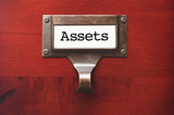Lustrous Wooden Cabinet with Assets File Label poster