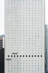 window washer on modern skyscraper
