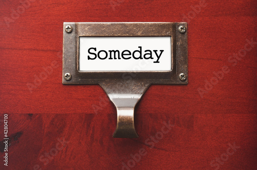 Lustrous Wooden Cabinet with Someday File Label