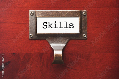 Lustrous Wooden Cabinet with Skills File Label