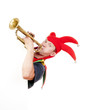 jester blowing trumpet