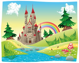 Fototapety Panorama with castle. Cartoon and vector illustration.