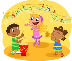 Giovane trio musicale etnico, vettore