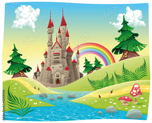 Panorama mit Schloss. Cartoon und Vektor-Illustration.