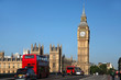 Big Ben with red city bus in London, UK