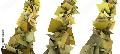 3d abstract yellow spiked shape on white