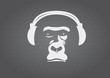 Ape with headphones