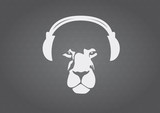 Fototapety Lion with headphones