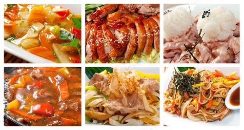 Food set of different chinese cuisine
