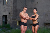 Athletic man and woman outdoors