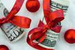 Dollar Geldscheine mit Schleife als Geldgeschenk