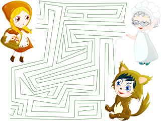 Maze little red riding hood. include clipping path and solutions