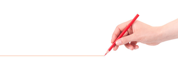 Hand drawing red line with pencil isolated