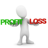 3d Little man choose between profit and loss