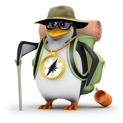 3d Penguin in glasses goes hiking