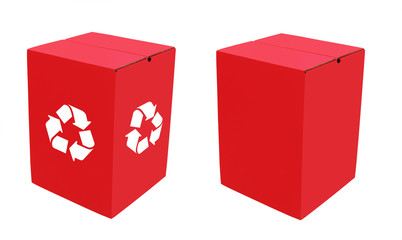 Two empty eco-friendly cardboard boxes in bright red color, one