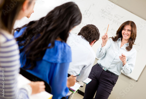 Woman teaching a class