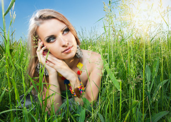 portrait of a girl on grass