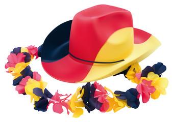 Fussball Cowboyhut mit Blumenkette