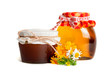 Flower honey in a glass jar