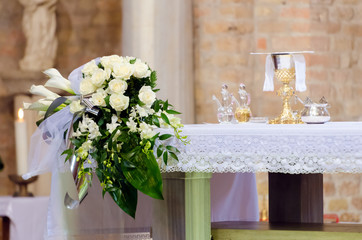 flowers on altar in church