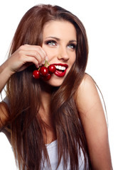 Happy health woman with cherry isolated on white background