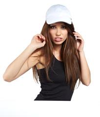 Pretty  woman holding empty white board