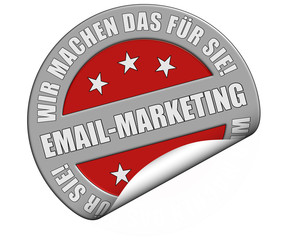 Schild graurot rund rt WMDFS EMAIL-MARKETING