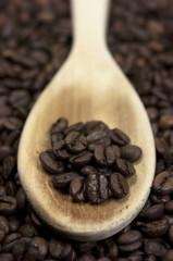 Café, cuchara de madera