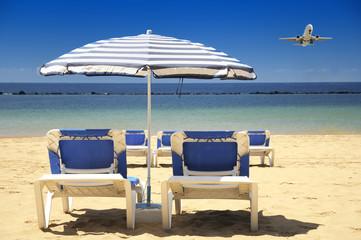 Chairs on a sandy beach