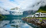 Motorhomes at Norwegian campsite poster