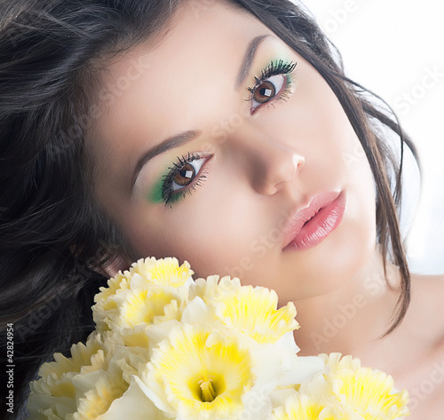 Beautiful bride with flowers. Wedding style. Series of photos