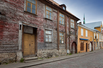 Old houses on the Old city streets. Tallinn. Estonia...
