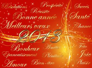 meilleurs voeux 2013 fond rouge & mots