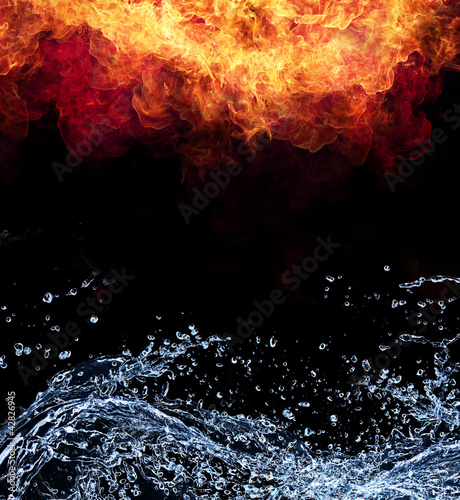 Water and fire connection, representation of elements.