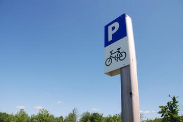 Fahrrad Parkplatz Schild Landschaft