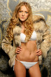 beautiful woman in fur coat  and underwear.