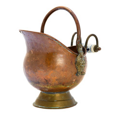 Antique copper jar. Isolated image.