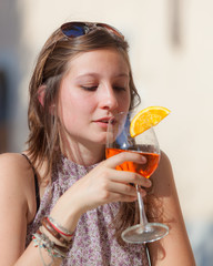 Smiling Beautiful Woman with Cold Drink
