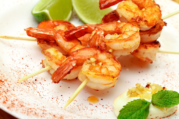 Fried King Prawns Served in Plate