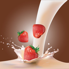 strawberries and milk. vector illustration